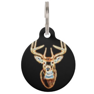 White tail Deer Head Energy Spirit Pet Name Tag