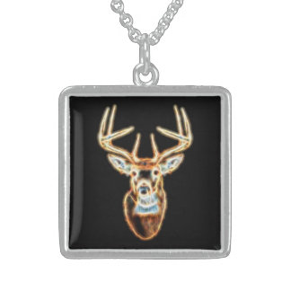 White tail Deer Head Energy Spirit Sterling Silver Necklace