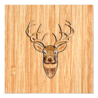 White Tail Deer Head Trophy Wood Grain Style Magnetic Card