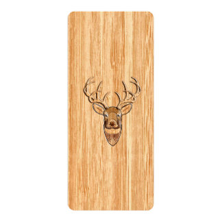 White Tail Deer Head Wood Grain Background Card