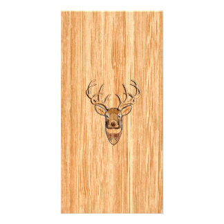 White Tail Deer Head Wood Grain Background Card