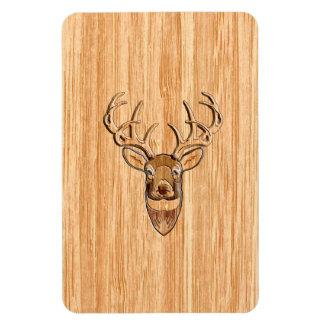 White Tail Deer Head Wood Grain Background Magnet