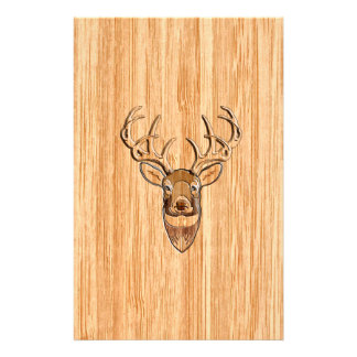 White Tail Deer Head Wood Grain Background Stationery