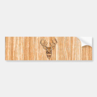 White Tail Deer Head Wood Grain Design Bumper Sticker