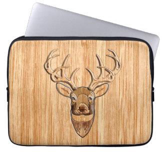 White Tail Deer Head Wood Grain Style Computer Sleeve