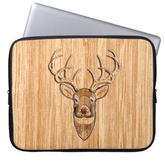 White Tail Deer Head Wood Grain Style Laptop Sleeve
