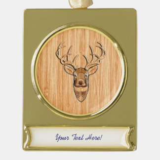 White Tail Deer Head Wood Grain Style Print Gold Plated Banner Ornament