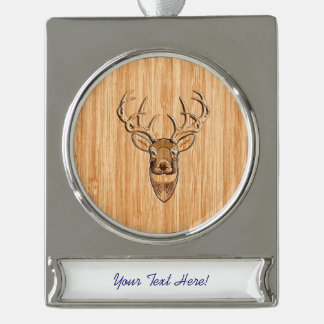 White Tail Deer Head Wood Grain Style Print Silver Plated Banner Ornament