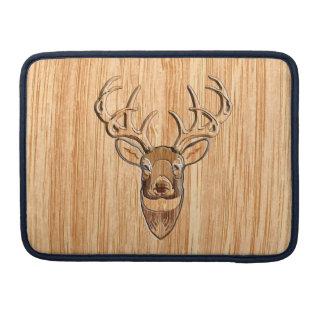 White Tail Deer Head Wood Grain Style Sleeve For MacBook Pro