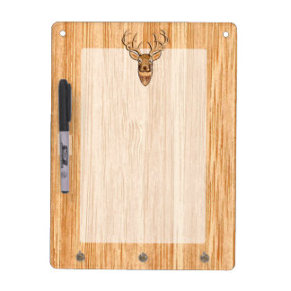 White Tail Deer Head Wood Inlay Grain Style Decor Dry Erase Board