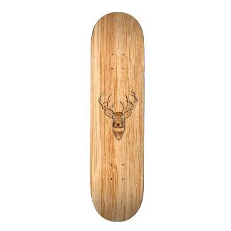 White Tail Deer Head Wood Inlay Grain Style Decor Skateboard