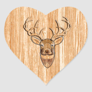 White Tail Deer Head Wood Inlay Grain Style Heart Sticker