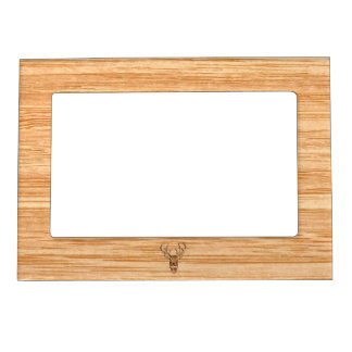 White Tail Deer Head Wood Inlay Grain Style Magnetic Picture Frame