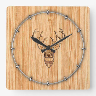White Tail Deer Head Wood Inlay Grain Style Square Wall Clock