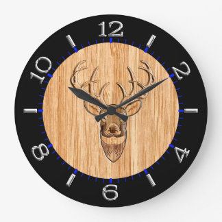 White Tail Deer Head Wood Inlay Style Large Clock