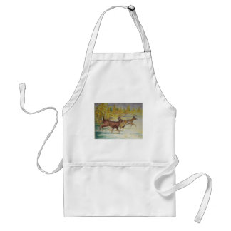 White Tail Deer On The Run Adult Apron