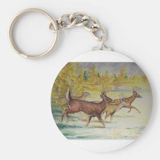 White Tail Deer On The Run Basic Round Button Keychain