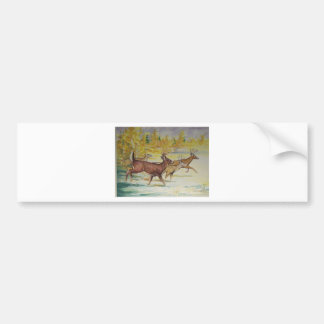 White Tail Deer On The Run Bumper Stickers