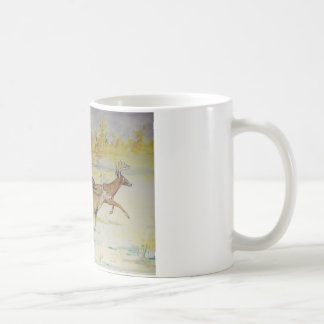 White Tail Deer On The Run Coffee Mug