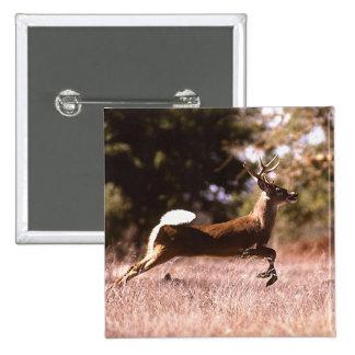 White-Tail Deer Running Pinback Button