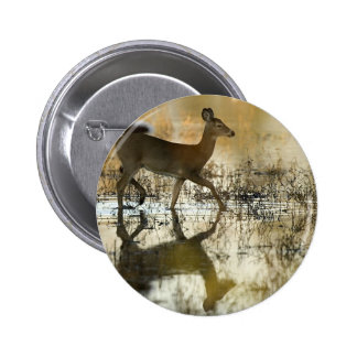 White-Tail Deer Shadow Button