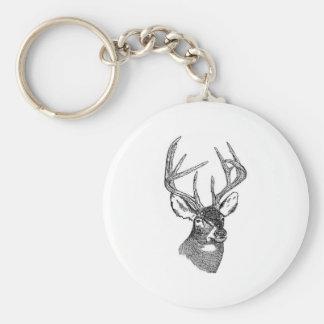 White Tail Deer Trophy Buck Basic Round Button Keychain