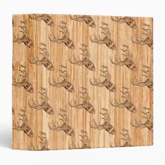 White Tail Deer Wood Grain Style Graphic Binder