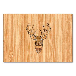 White Tail Deer Wood Grain Style Graphic Card