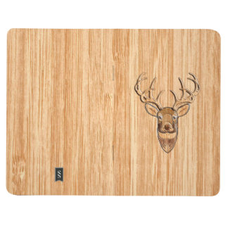 White Tail Deer Wood Grain Style Graphic Journal