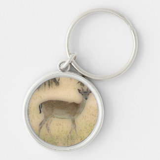 'White-tail Grazing' Silver-Colored Round Keychain