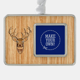 White Tail Head Wood Grain Style Silver Plated Framed Ornament