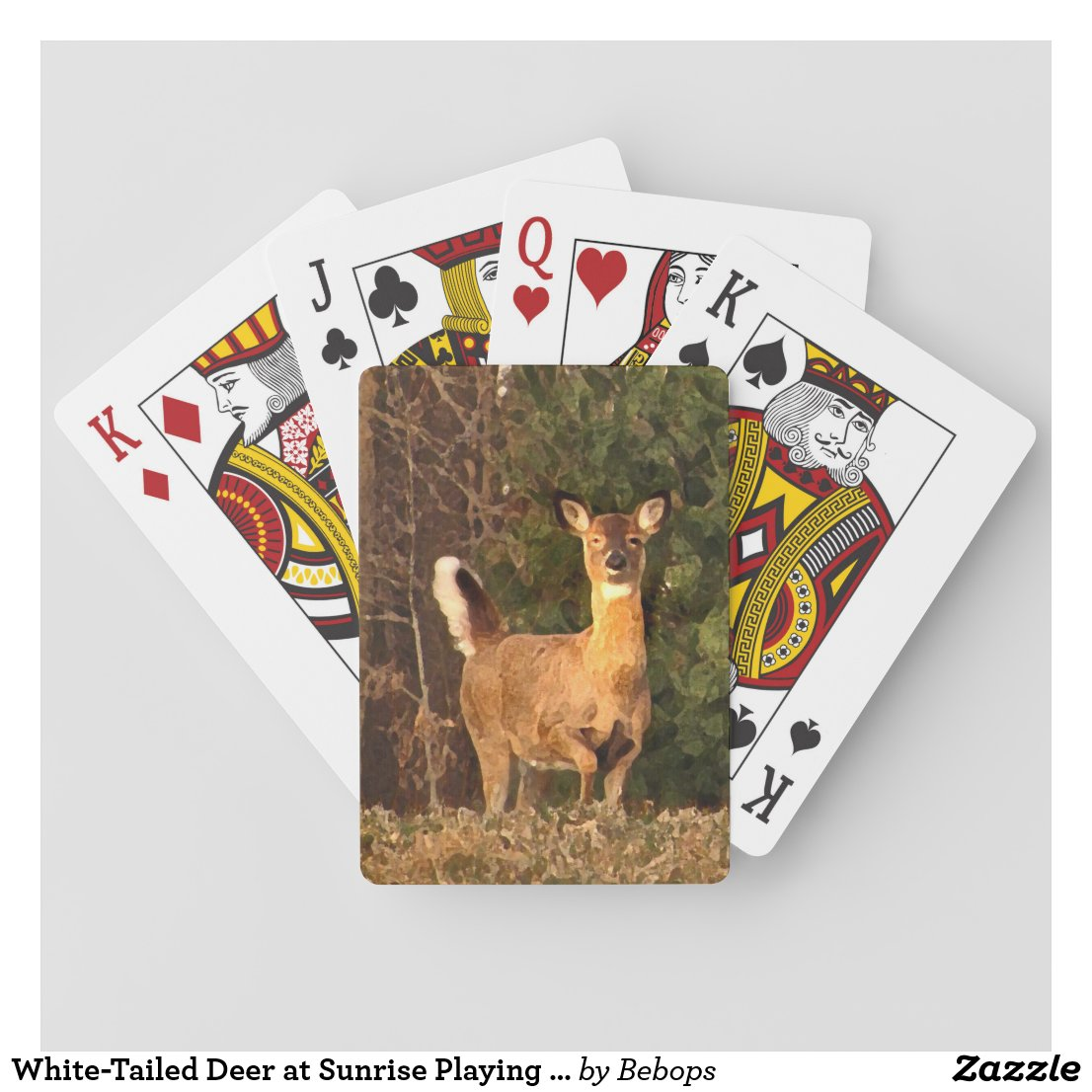 White-Tailed Deer at Sunrise Playing Cards