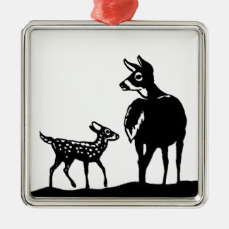 White Tailed Deer Doe - Fawn Black and White Logo Metal Ornament