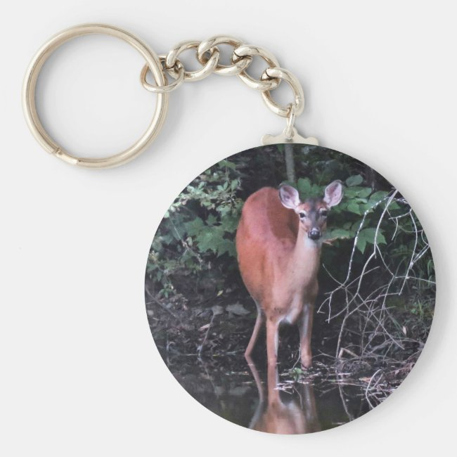 White Tailed Deer Drinking at Forest Pond Keychain