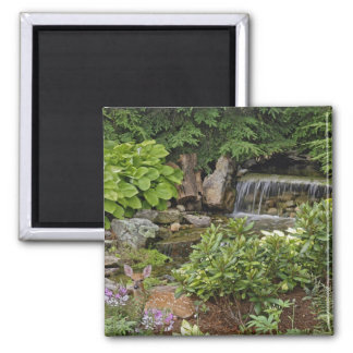 White-tailed deer fawn hiding in backyard 2 inch square magnet