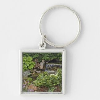 White-tailed deer fawn hiding in backyard Silver-Colored square keychain