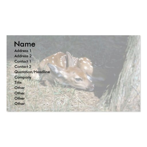White-tailed Deer-fawn lying by tree Double-Sided Standard Business Cards (Pack Of 100)