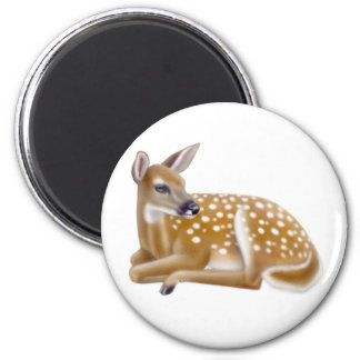 White Tailed Deer Fawn Round Magnet