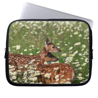 White-tailed deer fawns laptop sleeve