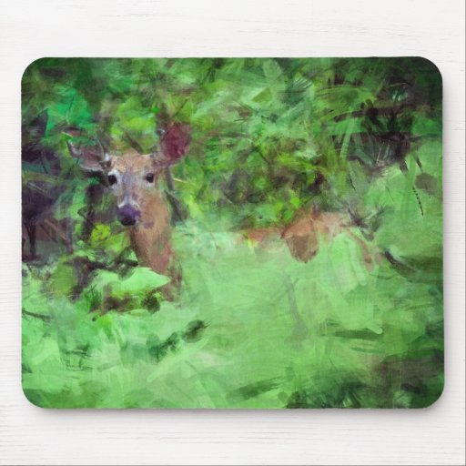 White Tailed Deer in Woods Painting Mouse Pad