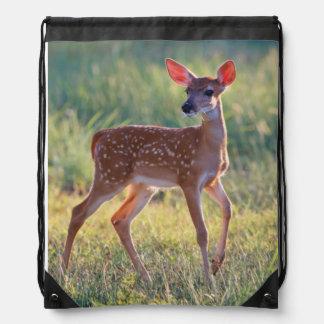 White-Tailed Deer (Odocoileus Virginianus) Fawn Drawstring Backpack