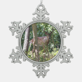 White-tailed Deer Snowflake Pewter Christmas Ornament