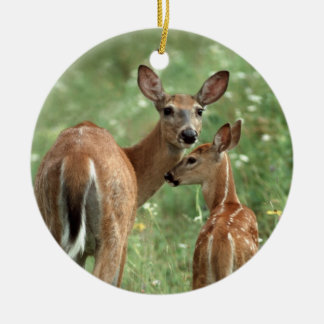 White-tailed Deer with Her Fawn Ceramic Ornament