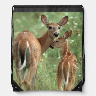White-tailed Deer with her Spotted Fawn Drawstring Bag