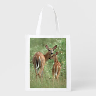White-tailed Deer With her Spotted Fawn Grocery Bag