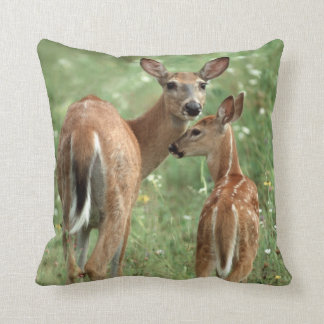 White-tailed Deer with her Spotted Fawn Throw Pillow