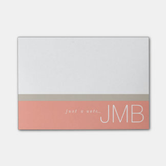 White Tan and Pink Stripe Just a note Monogram