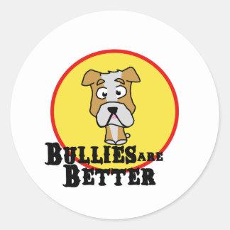 White/Tan Bulldog Round Sticker