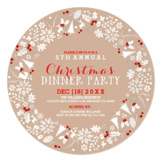 White & Tan Christmas Wreath Party Invitation