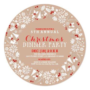 Christmas Themed White & Tan Christmas Wreath Party Invitation